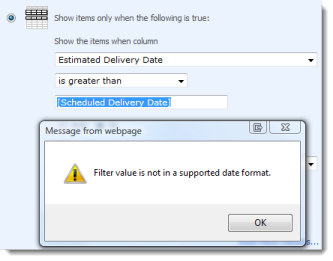 Filter value is not in a supported date format