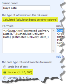 Days late calculated column