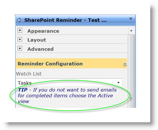 SharePoint Reminder WebPart