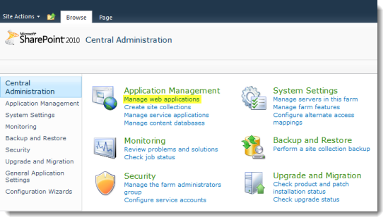 SharePoint 2010 Central Administration - Web Applications