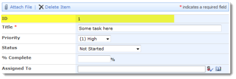 Edit form with the ID column showing