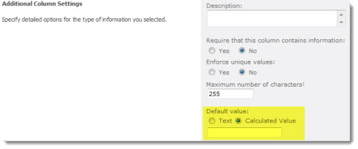 SharePoint - setting a calculated default value