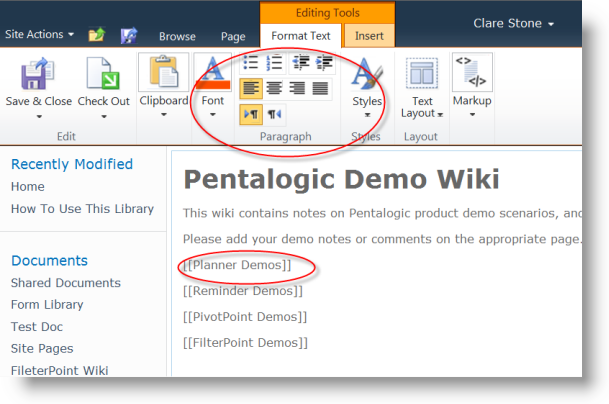 Working With Sharepoint Wikis Pentalogic Technology