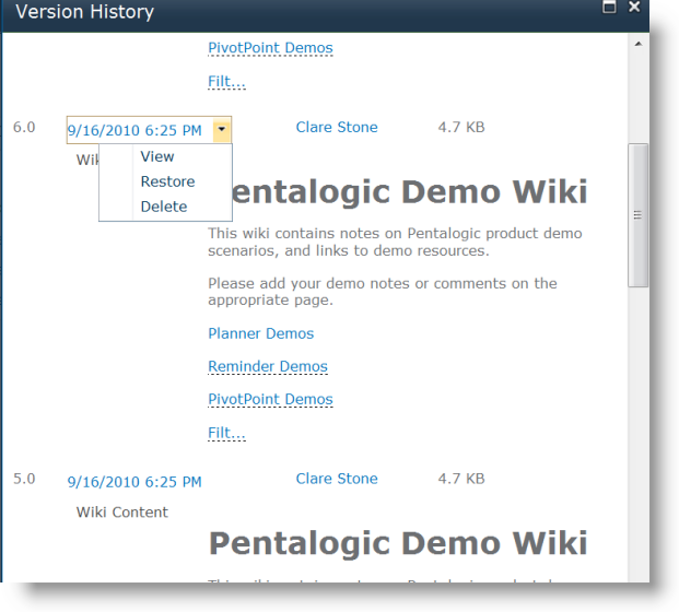 SharePoint Wiki Revision History