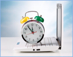 A clock on a laptop