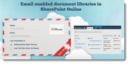 Email enabled document libraries for SharePoint online / 365