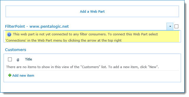 FilterPoint web part added