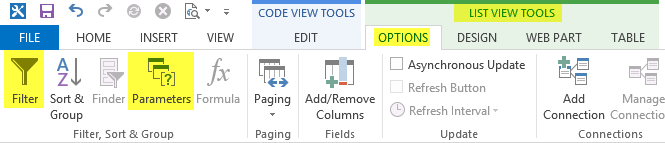 SharePoint Desinger 2013 - Filter and Parameters